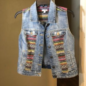 Denim colorful vest